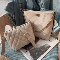 Luxury Handbag 2019 Spring New Quality PU Leather Bucket bag Women's Designer Handbag Lingge Chain Tote Shoulder Messenger bags