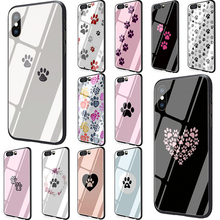 dog footprint Paw Tempered Glass Phone case for Huawei P10 P20 P30 Mate 20 Honor 9 10 Lite 7A Pro 8X Y6 Y9 P Smart