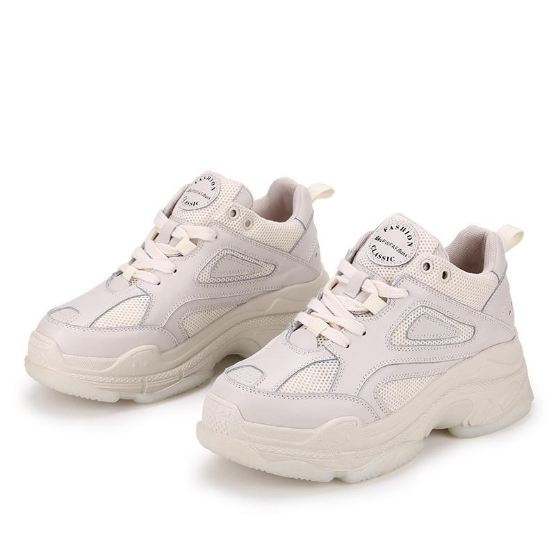 Schuhe 1 Plattform Frauen Neue Mode mode Weiße Mesh Leder Atmungsaktive 2019 Casual 2 Joker qBpwCxU