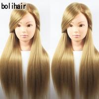 Best 65CM 100 High Temperature Fiber Blonde Hair Training Head Hairdressing Practice Training Mannequin Doll Head