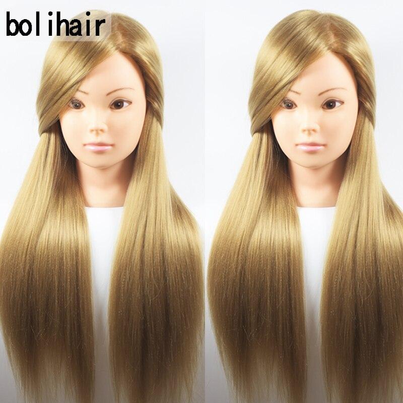 Meilleur 65 CM 100% Haute Température Fiber Blonde Cheveux Tête de Formation de Coiffure Formation Pratique Mannequin Poupée Tête Pour Vente