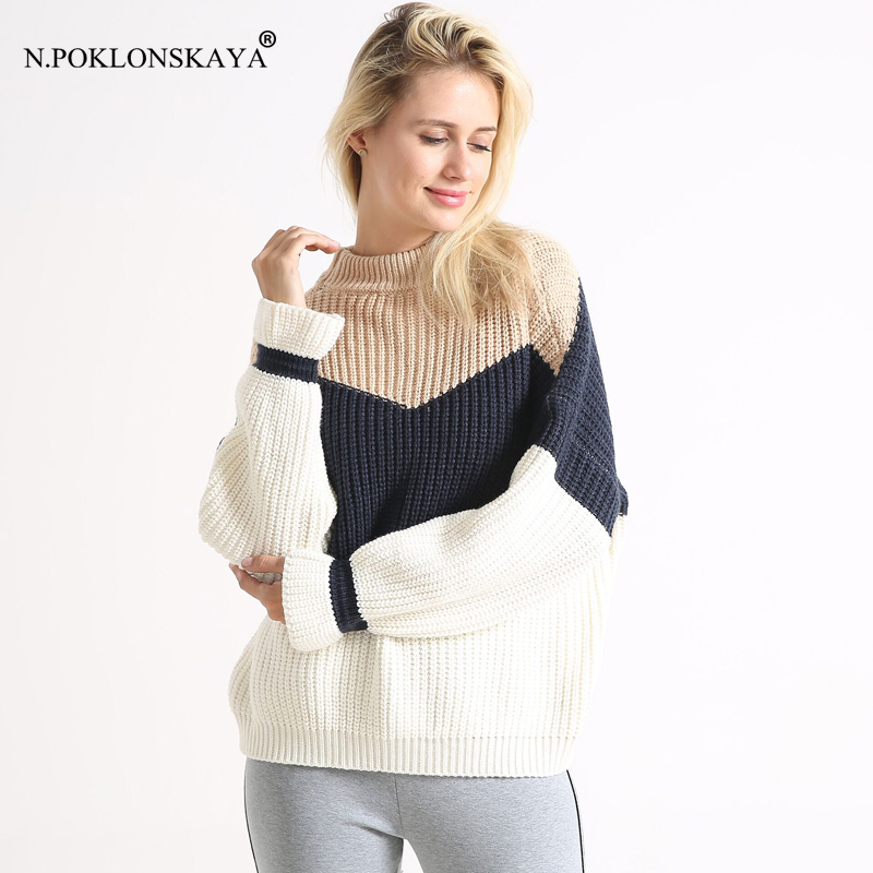 N.POKLONSKAYA Women Casual Loose Tuttleneck Sweater Patchwork Warm Autumn Winter Jumper Pullover Female Oversized Sweaters 2018