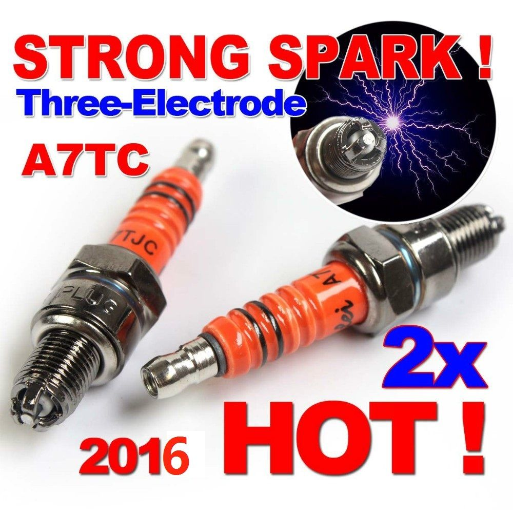 2x Spark Plug A7TC A7TJC Three-Electrode GY6 50cc-125cc Moped Motorcycle ATV