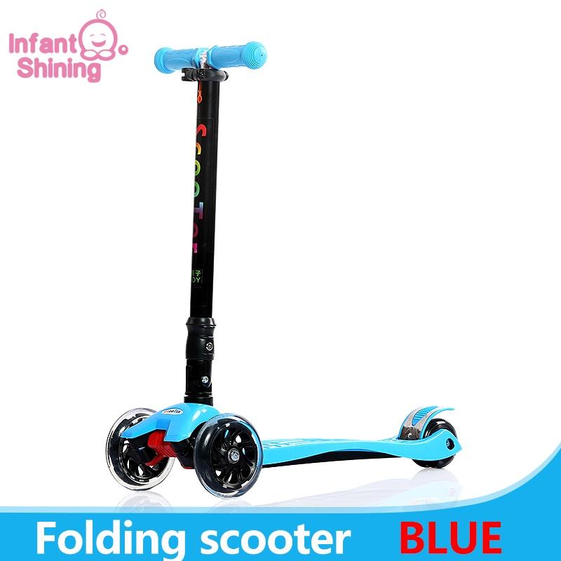 Enfants Scooter 3 roues pliant Flash balançoire voiture levage 2-15 ans bébé poussette Ride vélo véhicule jouets de plein air