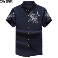 2018 New Fashion Printing Design Chinese Style Male Short Sleeved Shirt Plus Large Size Business &Casual Shirt Men 5XL 6XL