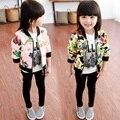 Мода весна осень свободного покроя девочек-младенцев дети детей печатный рисунок молнии куртки и пиджаки пальто кардиган S3369
