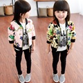 Fashion Spring Autumn Casual Baby Girls Kids Children Print Pattern Zipper Jackets Outwear Coats Cardigan S3369