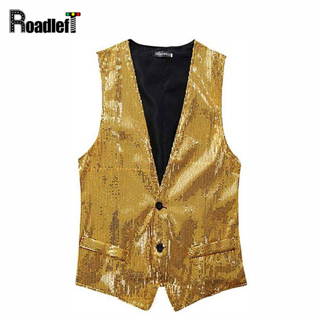 Men's slim paillette design Korean style sleeveless jacket vests Men bar singer punk fashion waistcoat vests tops,5 color