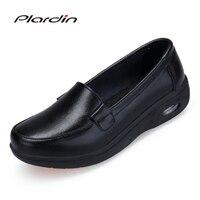 Plardin 2018 Four Seasons Women Pure White And Black Platform Soft Full Sole Nurse Shoes Woman