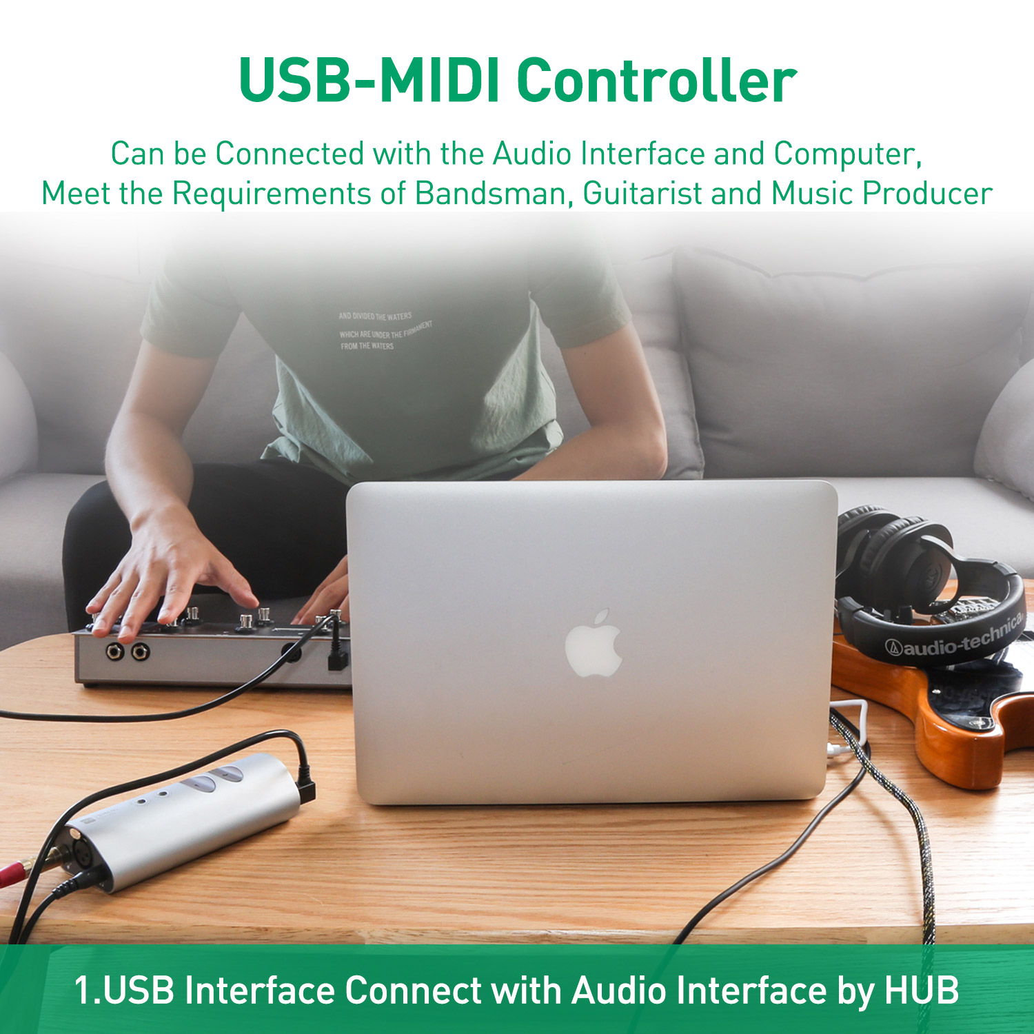 MIDI Commander Guitar Pedal Portable USB MIDI Foot Controller With 10 Foot  Switches Matched TS Mini Audio Interface Sound Card