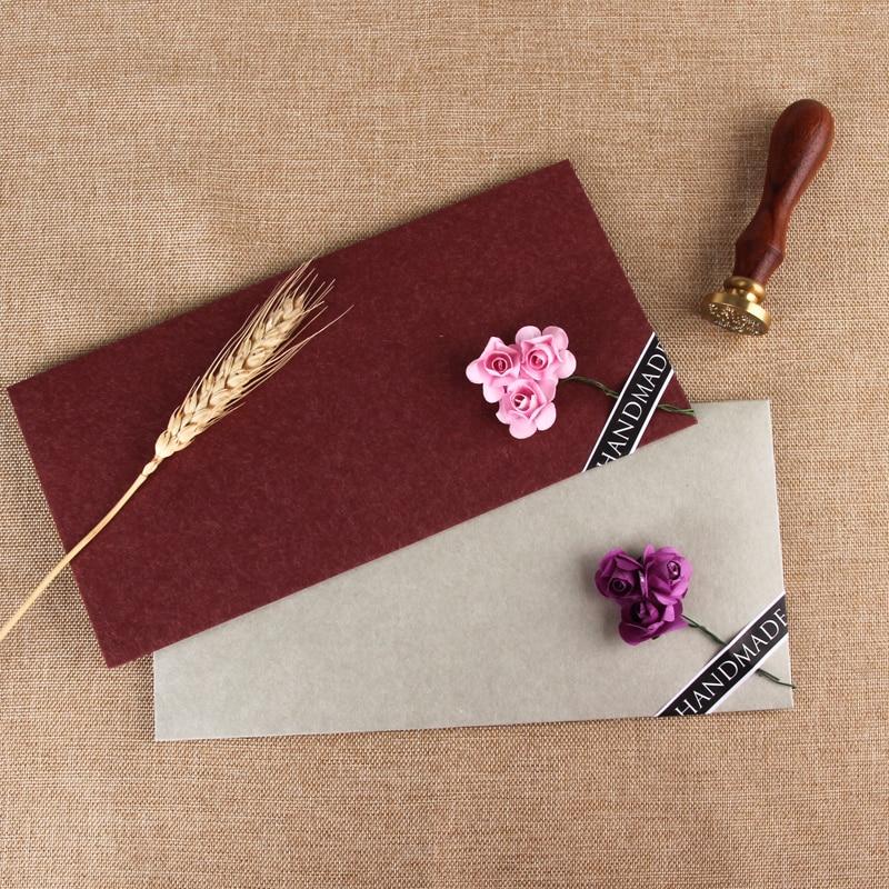 10pcs/20pcs Lot Flower Vintage Paper Envelopes Dried Flowers For Wedding Planner Letter Invitations Writing Gift Envelope