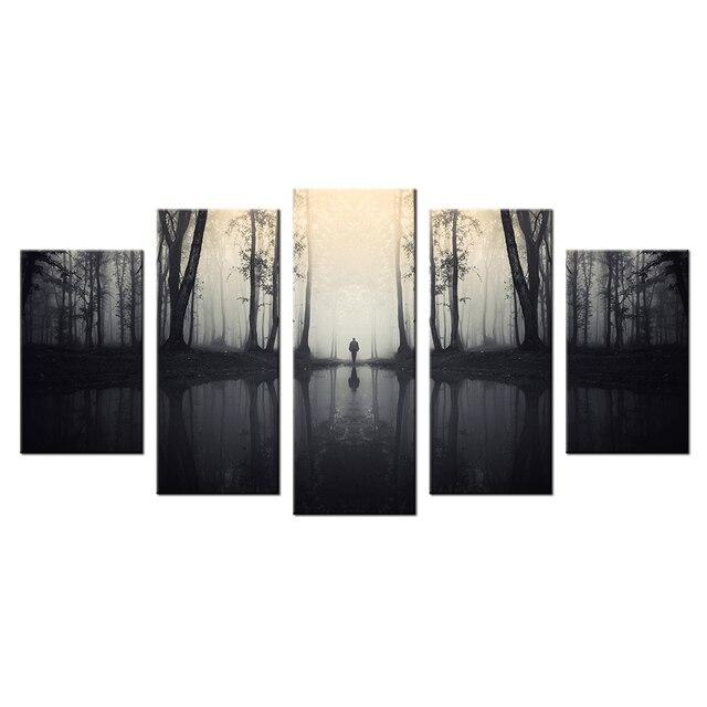 40da611fe0886 المشهد قماش يطبع جيكلي ضبابي الغابات النهر وحيدا رجالي الظهر المعاصر جدار  ديكور المنزل الحديث اللوحة