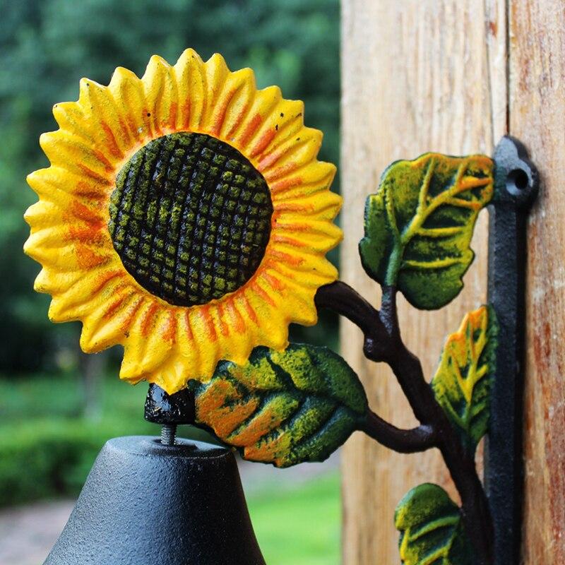 Винтажный двухсторонний Солнечный цветок дизайн черный с желтым зеленым ручная роспись чугунный садовый декор двери висячий приветственн... - 4