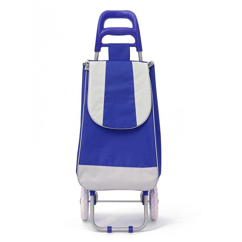 45L Складная хозяйственная сумка-тележка на колесиках, сумка для тележки на колесиках, корзина для багажа, колеса, ткань Оксфорд, Floding - Цвет: Синий