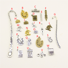 3 Piece Metal Bookmark Book Pen Palette Charms School 2038 Graduation For DIY Jewelry Making Party Decoration