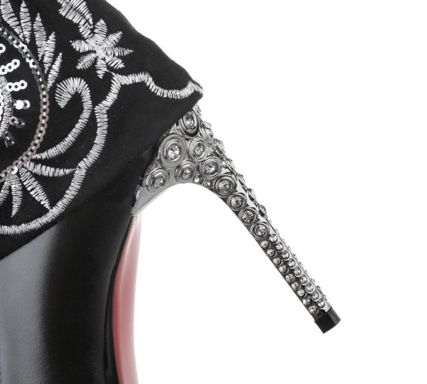 chaussures Vachette Bottes Métallique Noir Nouveau Talons La National Tête Glissière Broderie Fine Latérale Automne Hauts À Main Hiver Sharp Vent zfq6wax