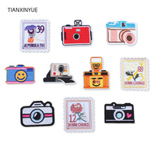 купить TIANXINYUE Camera Patch Iron On Embroidered Appliques Sew On Jacket DIY clothing patch дешево