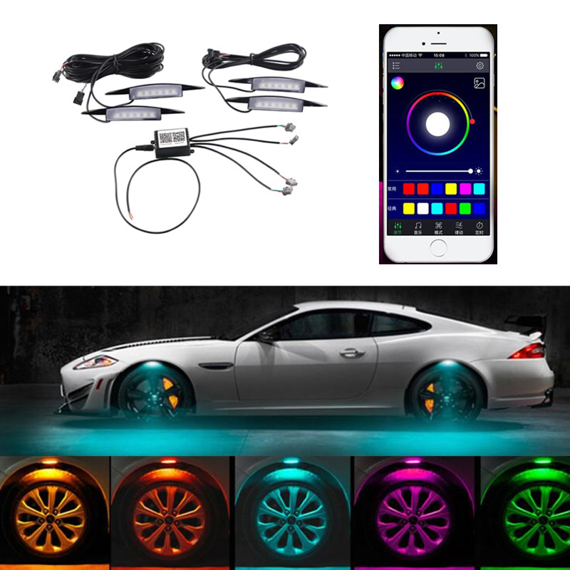 New App Control Multi-Color Car Fender Wheel Eyebrow LED Light Tire RGB Light Under Side Lamp Flash Breathe Strobe 3 Modes