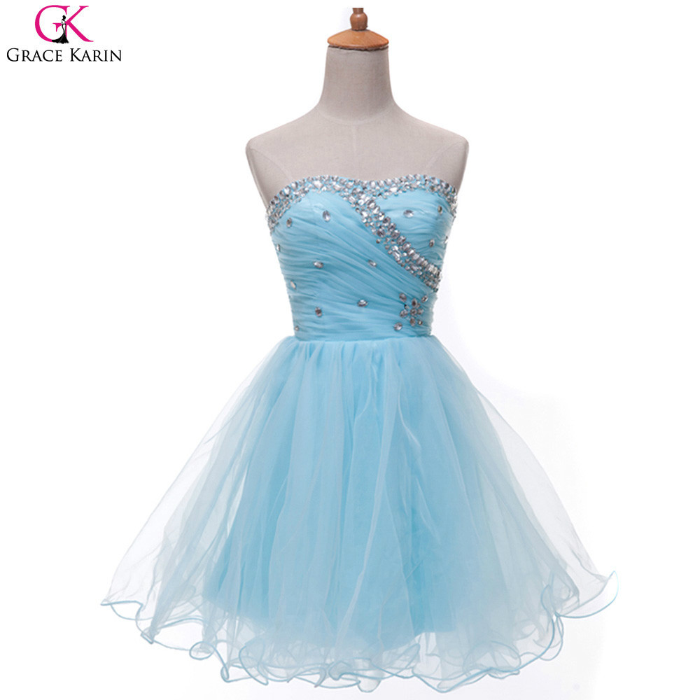Grace Karin Prom Dresses Short Strapless Crystal Sweetheart Puffy ...