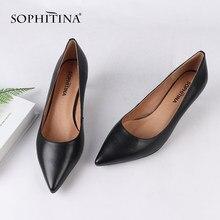 SOPHITINA – escarpins à bout pointu en cuir véritable pour femmes, chaussures à talons hauts de 5 cm, à enfiler, faites à la main, à talons fins, SC169