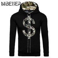 NIBESSER Mens Sweatshirt 2017 Autumn Winter New Male Camouflage Printed S Sign Designed Hooded Pullovers Casual