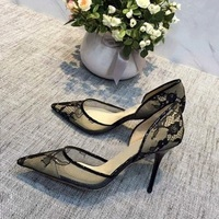 Ravryy Black Sexy Lace Thin High Heel Pointed Toe Shallow 2018 New Arrival Pumps Beautiful Dress Sitletto Heels