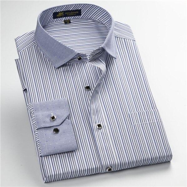 Pauljones 57xx дешевый воротник дизайн с длинными рукавами для мужчин s полосатые рубашки Повседневное платье Мужская рубашка в клетку Высококачественная Мужская одежда - Цвет: 5746