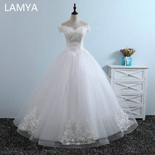 LAMYA Ivory White Off The Shoulder Wedding Dresses Lace Appliques Bridal Gowns Vintage Floor Length Ball Gown Vestidos De Noiva