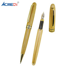 ACMECN 2pcs / Lot Office & School Ball Pen and Fountain Sets Writing Stationery Natural Environmental Bamboo