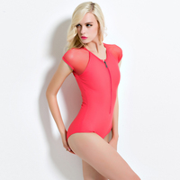 Swimsuit 2016 Mesh Short Sleeve Swimsuit Sports Women Swimwear Monokini Zipper Design High Quality Sexy One