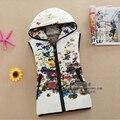 Женская Жилет 2014 Зима женская мода ситец жилет короткий параграф Тонкий вниз хлопка с капюшоном жилет
