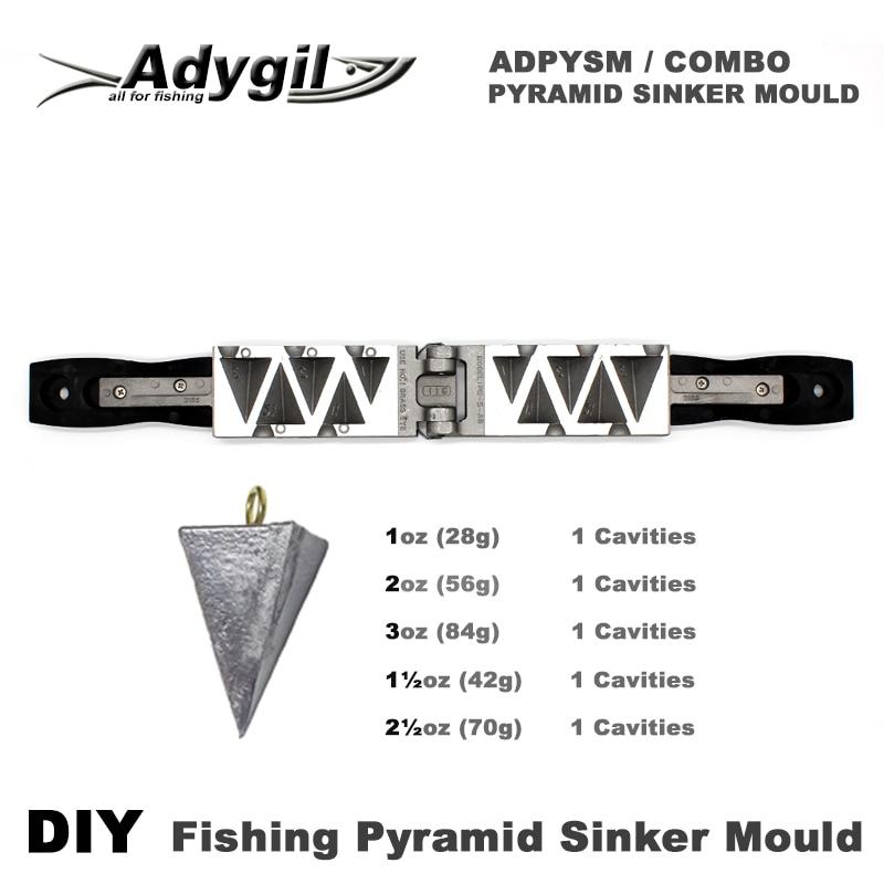 Adygil DIY Fishing Pyramid Sinker Mould ADPYSM/COMBO 1oz, 2oz, 3oz, 1.5oz, 2.5oz 5 Cavities mould logo custom services 12 cavities english character simple pattern brand identity