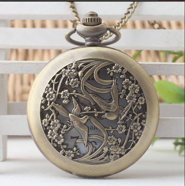 Fashion Jewelry Retro Necklace Pocket Watch Woman And Mens Bronze Vintage Cool Bird Chain Pocket Watch Gift