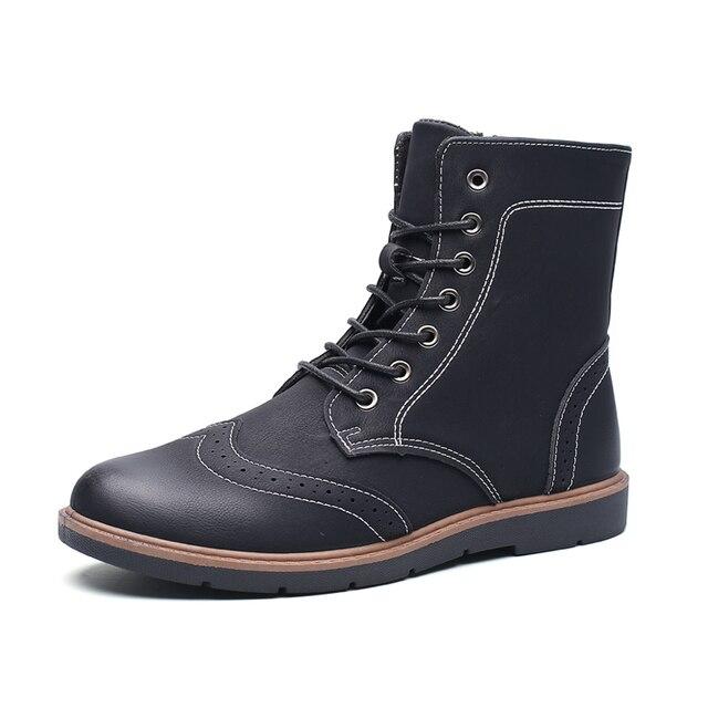 Los hombres de Alta-top Zapatos Brogues Moda Cuero Genuino Botines de Tobillo Martin Botas de Becerro de Charol Zapatillas Deportivas Hombre