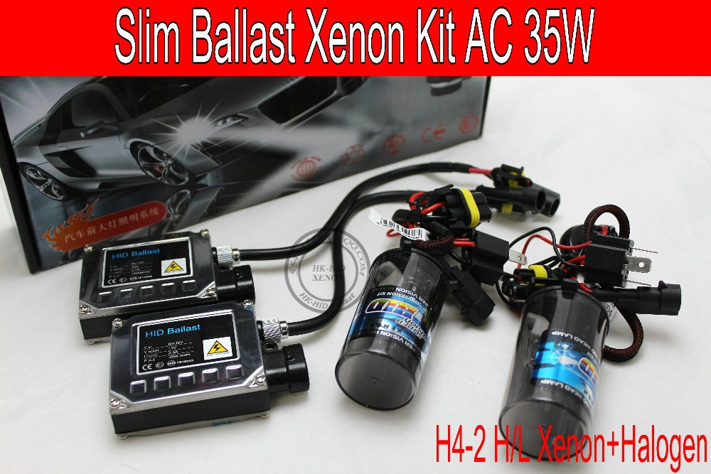 Free Shipping 12V/35W Top Quality HID AC BALLAST KIT H4-2 Xenon + Halogen bulb xenon kit car headlight 4300K/6000K/8000K/10000K купить