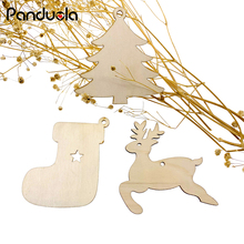 10PCS Vintage Creative Wooden Christmas Decor Pendants Ornaments DIY Wood Crafts For Xmas Tree Home Party Kids Gift Decorations