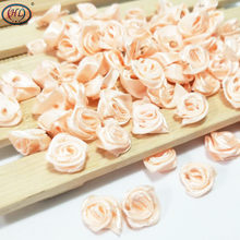 HL 100pcs Peach Ribbon Rose Flowers Wedding Decoration DIY Crafts Apparel Accessories Sewing Appliques 15MM A663(China)