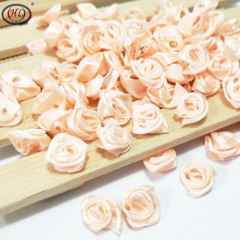 HL 100 piezas Cinta de durazno Rosa Flores Decoración de la boda Artesanía DIY Accesorios de ropa Apliques de costura 15 MM A663