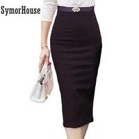 2015 Hot Sale Ladies Skirt OL Women Slim Fitted Knee Length High Waist Straight Career Pencil