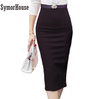 2015 Hot Sale Ladies Skirt OL Women Slim Fitted Knee Length High Waist Straight Career Pencil