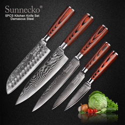 SUNNECKO 73 Layers Damascus Steel Chef Knife Japanese Kitchen Knives Pakka Wood Handle Utility Santoku Slicing Paring Cut Knives