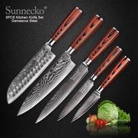 SUNNECKO 73 Layers Damascus Steel Chef Knife Japanese Kitchen Knives Pakka Wood Handle Utility Santoku Slicing Paring Cut Knives