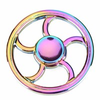 Colorful Round Rainbow Fire Wheel EDC Spinner Fidget Metal Spinner Hand For Autism And ADHD Relief Focus Stress Gift Finger Toys