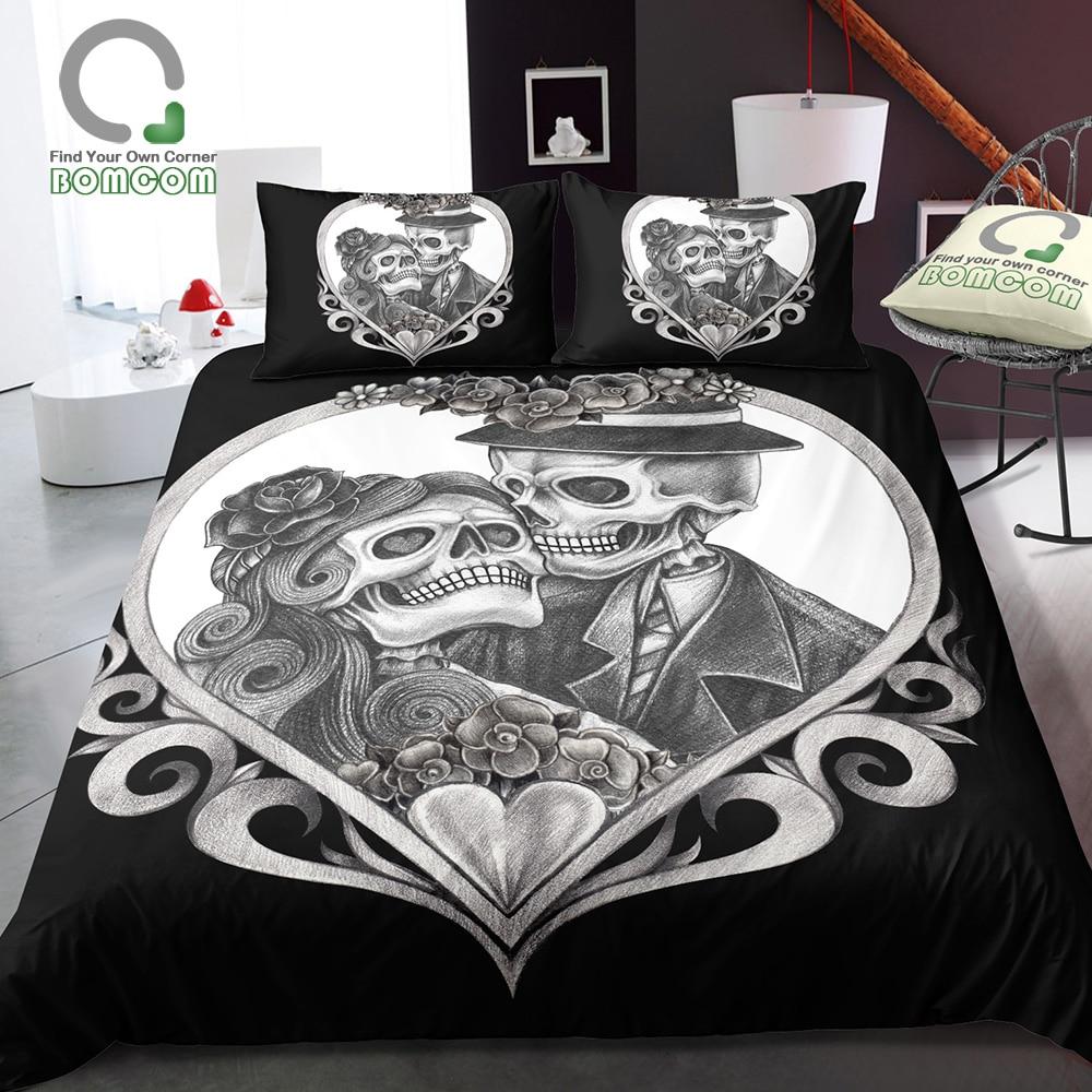 BOMCOM 3D Digital Printing Sugar Skull Bedding Set Skull Print Duvet Cover 100 Microfiber Black