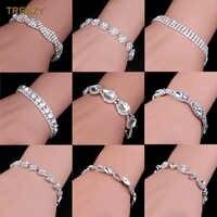 Luxury Crystal Bracelets For Women Silver Plated Rhinestone Charm Bracelets & Bangles Femme Bridal Wedding Jewelry Birthday Gift