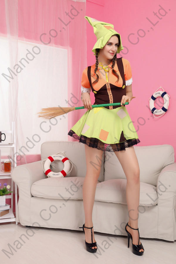 Women Girls Cute Sexy Witch Cosplay Green Dress Halloween Costume party outfit with hat 3pcs suit