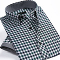 New Summer 2016 Mens Short Sleeve Plaid Shirts Brand Clothing Design Fashion Cotton Slim Fit Business Mens Casual Shirt