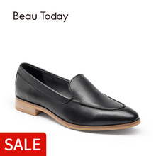 BeauToday Moccasin Loafers Women Flats Top Quality Genuine Leather Fashion Slip-On Pointed Toe Calfskin Brand Shoes 27011