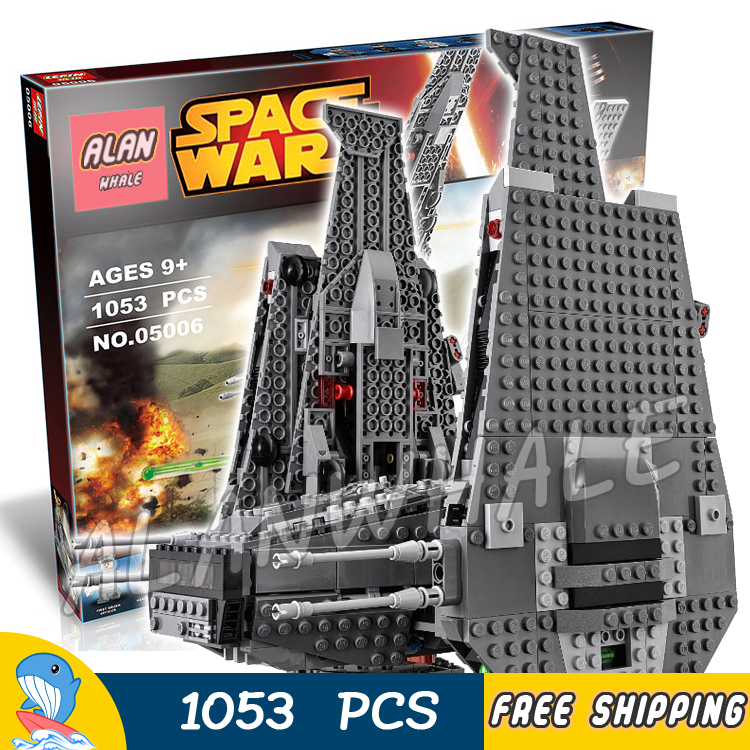 1053pcs New Space Wars Kylo Rens Command Shuttle 05006 Spaceship Model Building Blocks Stormtrooper Toys Compatible With Lego lepin 05006 star kylo ren command shuttle lepin building blocks educational toys compatible with 75104 lovely funny toys wars