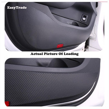 цена на Carbon Fiber Car Door Protect Sticker Car Interior Door Anti-Kick Pad Anti-dirty Pad 5D For Hyundai Verna Accessories 2015 2016